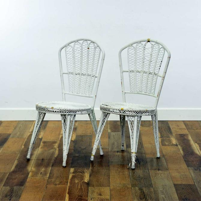 Pair Of White Wicker Accent Chairs