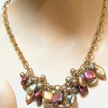 Natural Stone & Fresh Water Pearl Necklace by CafeSocietyStore