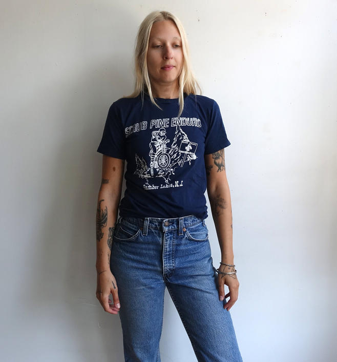 Vintage 80s Motorcycle Race T Shirt/ 1980s Scrub Pine Enduro/ Bamber Lakes New Jersey/ Screen Stars Single Stitch/ Size small by bottleofbread