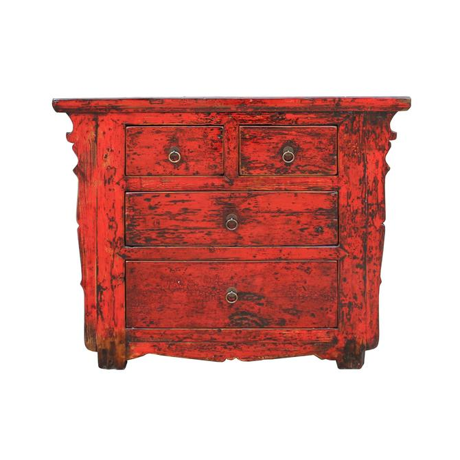 Chinese Distressed Rustic Red Foyer Console Table Cabinet cs5331S
