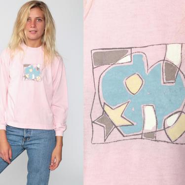 Heart T Shirt Pink Esprit Shirt Long SLeeve Retro TShirt Vintage T Shirt 90s Tee Graphic Print 1990s Kawaii Grunge Small xs by ShopExile