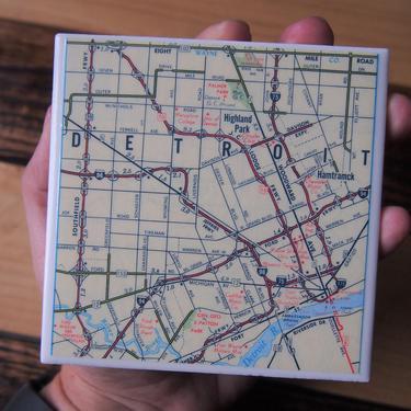 1981 Detroit Michigan Map Coaster - Ceramic Tile - Repurposed Vintage 1980s Road Atlas - Handmade by allmappedout