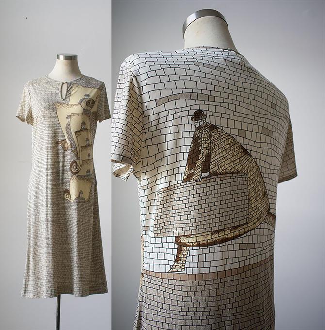 Vintage 1970s Dress / 1970s Gene Berk Dress / Gene Berk Maggie Dress / Trippy Vintage Dress / Brick Wall Print Dress / 70s Midi Dress by milkandice