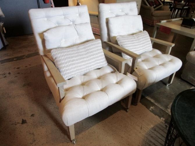 SET OF FOUR PRICED SEPARATELY LINEN TUFTED ACCENT CHAIRS