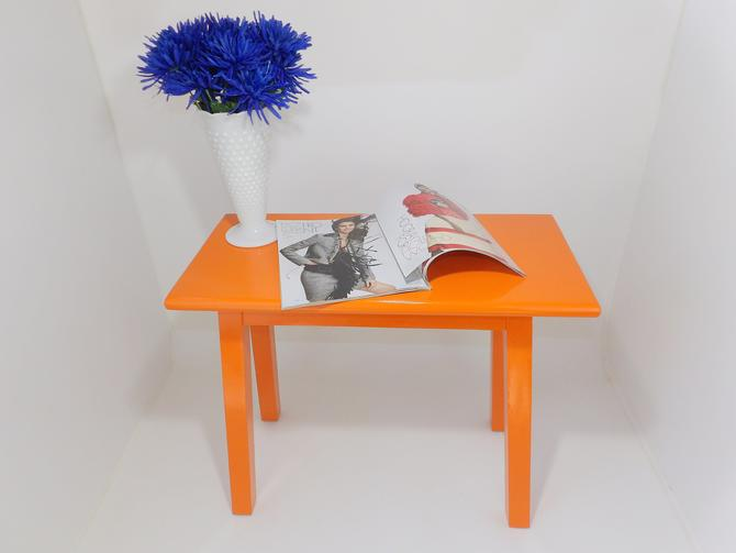 Mid Century Modern Orange Occasional Table Entryway Piano Bench Solid Wood  Hallway Hall Table Painted Bedroom Living Room Design Furniture by ...