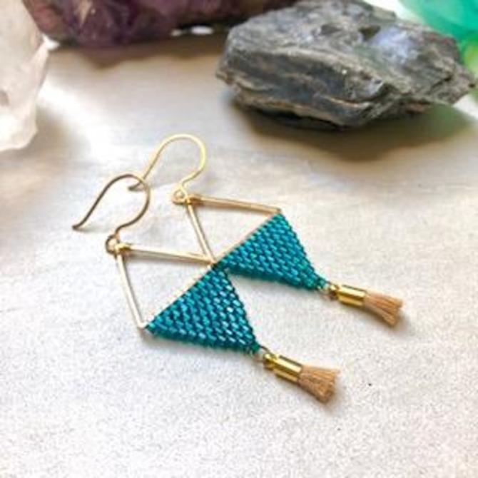 Teal Beaded Diamond shape Earrings