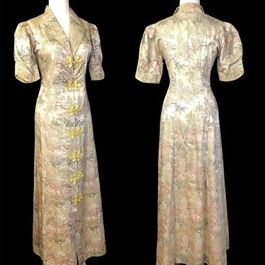 Exquisite 1930's Silk Brocade Dressing Robe /Coat Dress Old Hollywood Glamor Asian Textile Vintage Lingerie Lounge Robe Size Medium by wearitagain