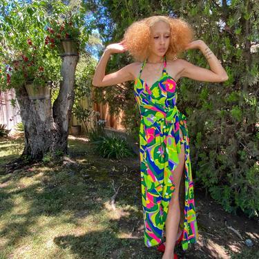 Vintage Psychedelic print CAFTAN Kaftan halter dress bright orange lime green pink halter dress high slit size small medium by ShopRVF