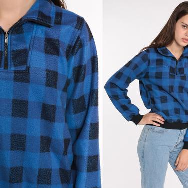 Plaid Fleece Sweatshirt 90s Blue BUFFALO PLAID Jacket Quarter Zip Pullover Sweater Bomber Jacket 80s Lumberjack Black Vintage Small by ShopExile