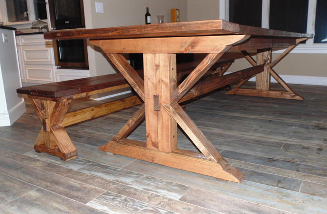 Kent Dining Table  Trestle X  Farmhouse  Reclaimed Wood  Custom  HandcraftedKent Dining Table  Trestle X  Farmhouse  Reclaimed Wood  Custom  . Farmhouse Dining Table Made In Usa. Home Design Ideas