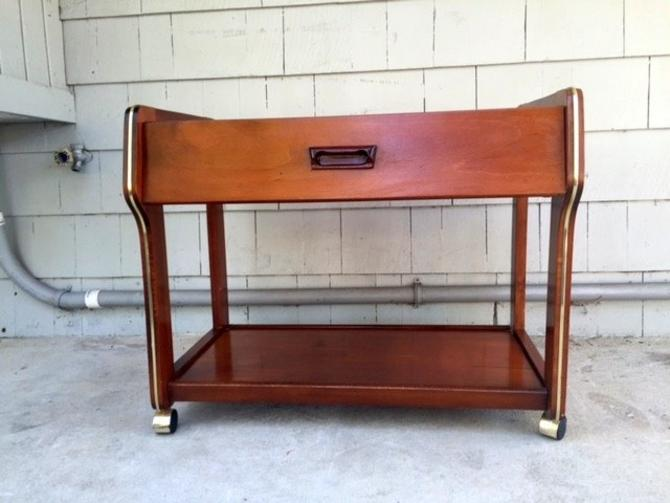 Midcentury 1960s Walnut & Brass Bar Cart Server