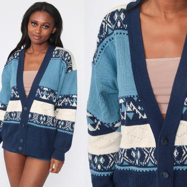 90s Cardigan Sweater Blue Cotton Acrylic Geometric Sweater Button Up 1990s Slouchy Vintage Retro 80s Medium Large by ShopExile