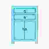Distressed Pastel Blue Lacquer Two Drawers End Table Nightstand cs5394S