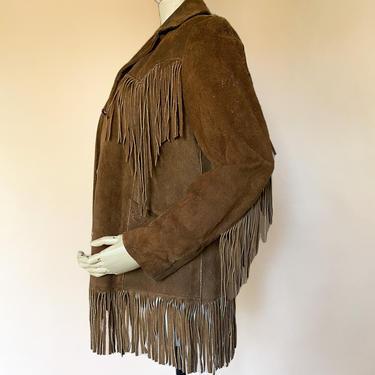 Vtg 70s Pioneer Wear Brown Suede Fringe Jacket / southwestern jacket / XS by AmericanDrifter