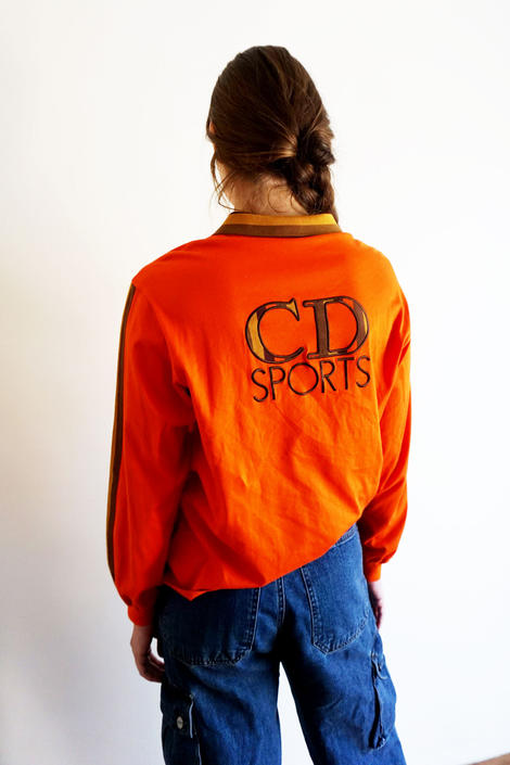1990s Christian Dior Sports Orange Long Sleeve Polo Top with Camo Logo and Knit Collar Unisex 90s Athletic by backroomclothing
