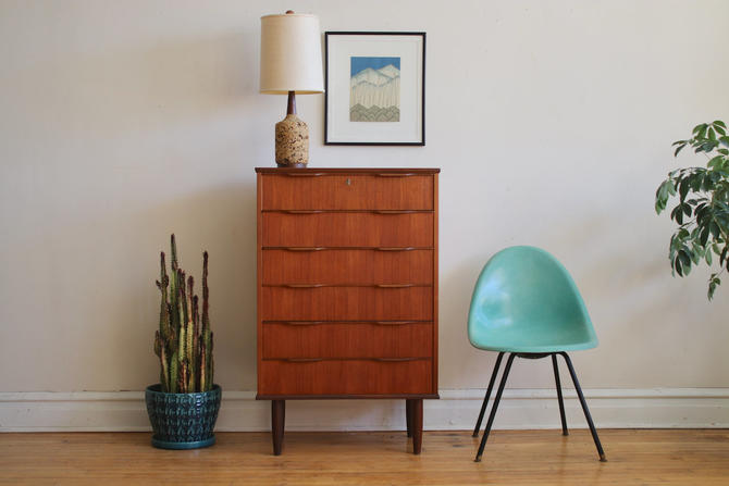 Mid Century Danish Modern Tall Teak Dresser by SharkGravy