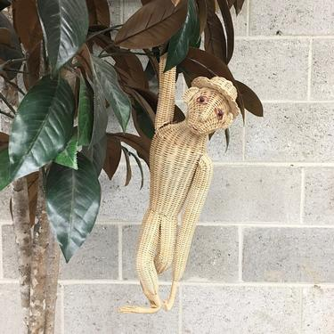 Vintage Hanging Monkey with Hat Retro 1960s Mid Century Modern + Woven + Rattan + Natural Wicker Cane + MCM + Home and Wall Decor by RetrospectVintage215