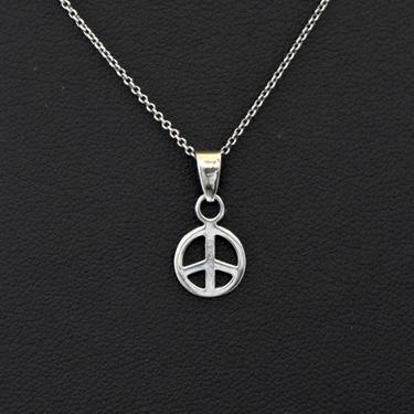 Little 80's 925 silver peace sign hippie pendant, minimalist sterling flower child boho peace symbol on Italy rolo chain necklace, N China by BetseysBeauties