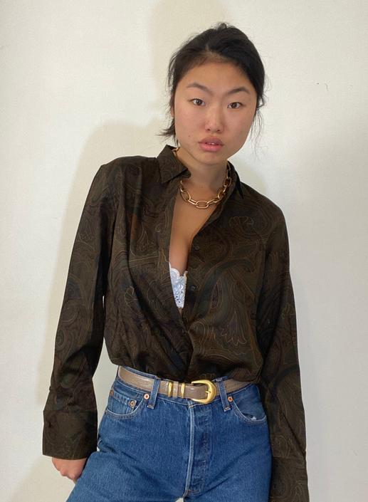 90s Ralph Lauren paisley cotton blouse shirt / vintage brown paisley print polished cotton button down French cuffs shirt blouse | M L by RecapVintageStudio