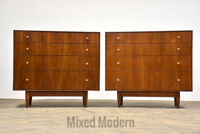 John Stuart Walnut Dresser Chests - A Pair by mixedmodern1