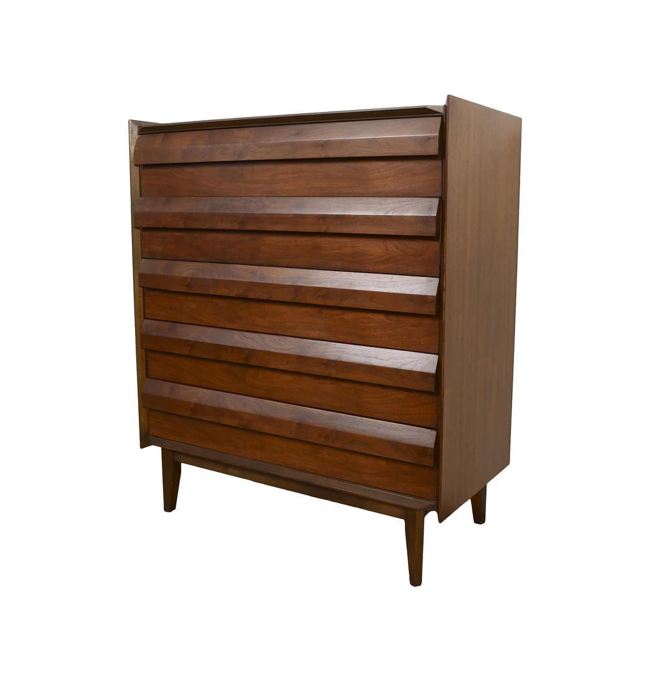 Walnut Tall Dresser Lane First Edition Mid Century Modern