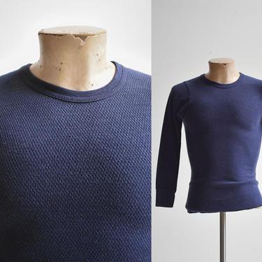 Vintage Blue Hanes Thermal Longsleeve Shirt by milkandice