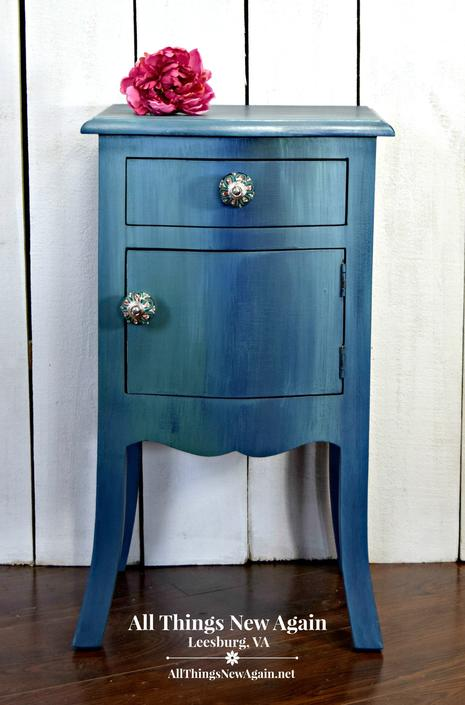 Small Blue Cabinet Side Table Nightstand Bedside Little Accent By Allthingsnewagainva