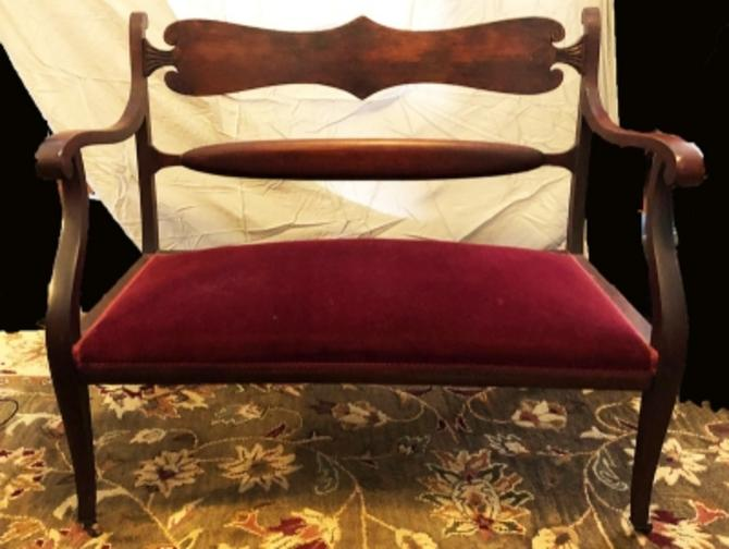 Circa 1900 Red Velvet Walnut Settee Art Nouveau Stylized Lines
