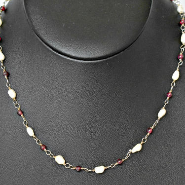 60's sterling garnet rice pearl romantic flower child chain choker, lovely pearls purple beads & 925 silver dainty handmade hippie necklace by BetseysBeauties