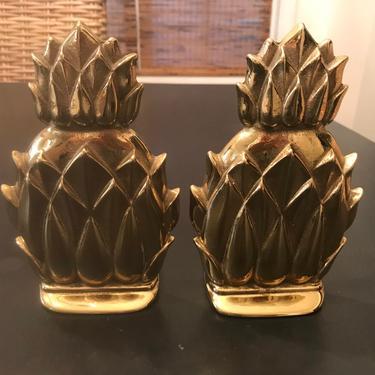 Vintage solid brass pineapple bookends by HolbrookBazaar