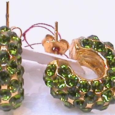 French Earrings Pierced  Green Glass Jewels on Circular Form by CafeSocietyStore