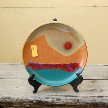 "Walt Glass (1943-2016) Studio Art Pottery 11 3/8"" Dinner Plate ~Texas Sunset w 4 Color, Drip Glaze, Terracotta, Teal & Magenta over Sand #4 by YesterdayAndTomorrow"