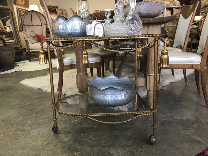 Vintage Italian Gold Rope Gilded two tier bar cart