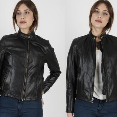Black Leather Cafe Racer Jacket / Vintage 80s Removable Fleece Lined Motorcycle Coat / Womens Biker Racing Zip Up Jacket by americanarchive