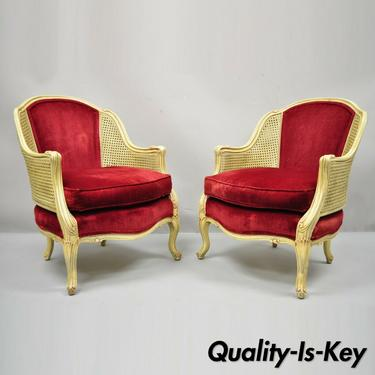 French Provincial Hollywood Regency Red Cane Bergere Club Arm Chairs - a Pair