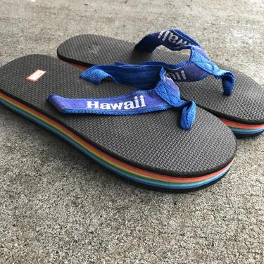 1980s Flip Flops Vintage Sandals Hawaii Rainbow Black Stripe Foam 80s Eighties Thick Men's 11 1/2 by purevintageclothing