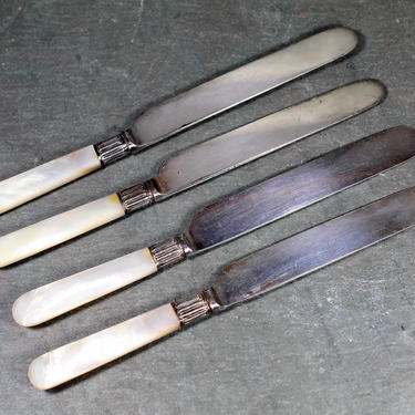 """Set of 4 Mother of Pearl Handled Silver Plated Butter Knives - 4"""" Blade Smooth Knife Set - Holiday Table 