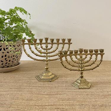 Vintage Menorahs -Brass Menorahs - Set of Two Petite Menorahs - Wainberg - Israel - Judaica by SoulfulVintage