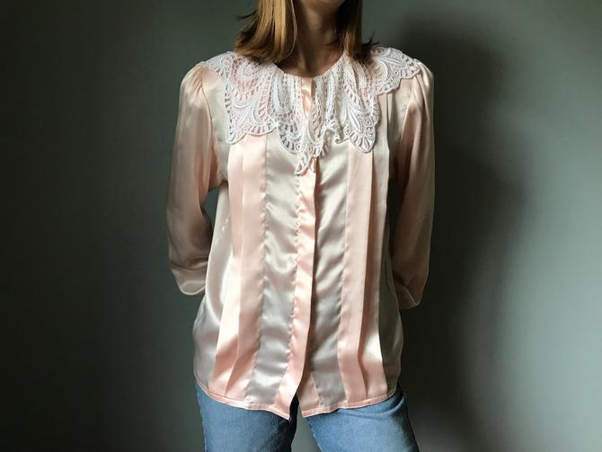 Vintage 80s Peach Silky Blouse Lace Collar by SpeakVintageDC