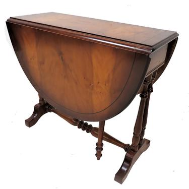 Accent Furniture   Vintage English Inlaid Burled Walnut Drop Side Occasional Table by PickeryPlace