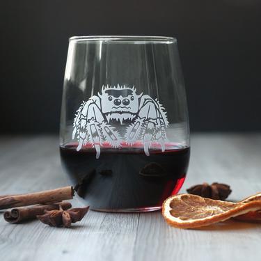 Halloween Spider Stemless Wine Glass - dishwasher-safe, engraved by BreadandBadger
