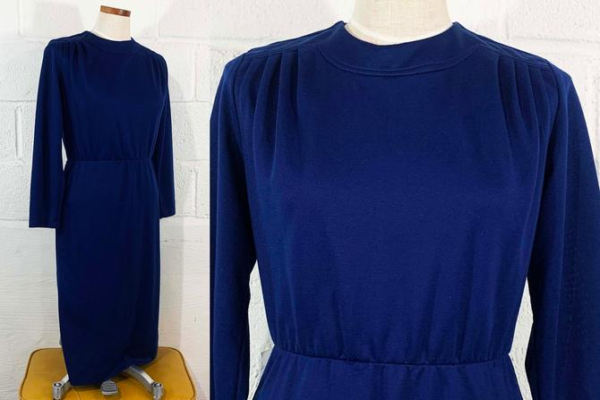 Vintage Navy Blue Dress Willowridge 60s Mod 1960s Twiggy Long Sleeve MCM USA Shift Scooter Large Medium by CheckEngineVintage