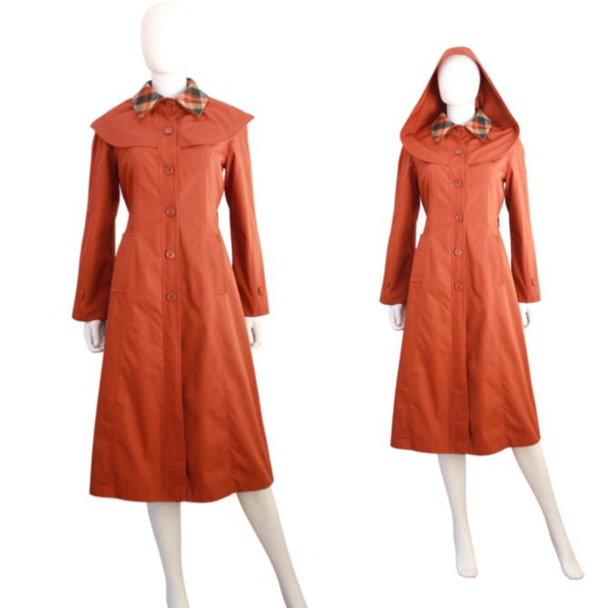1970s Orange Coat - 1970s Womens Trench Coat - Vintage Orange Trench Coat - Hooded Orange Coat - 70s Womens Coat - Fall Coat | Size Medium by VeraciousVintageCo