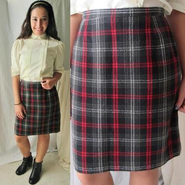 Black Red Plaid Skirt, Vintage 90s, High Waist, Wool Blend Preppy Prep School Girl Tartan by GabAboutVintage