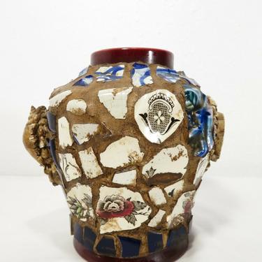 Vintage TILE & SEASHELL MOSAIC CANDLE HOLDER Succulent Vase MEMORY JUG FOLK ART