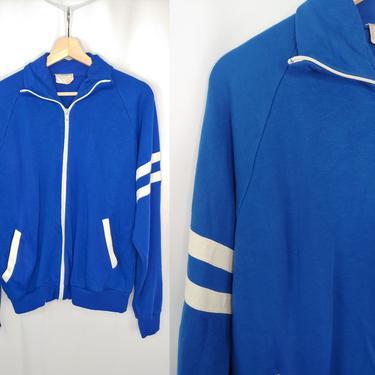 Vintage 80s Blue Athletic Zip Up Sweatshirt - Eighties Men's Blue White Gym Coach Sweatshirt - Large by JanetandJaneVintage