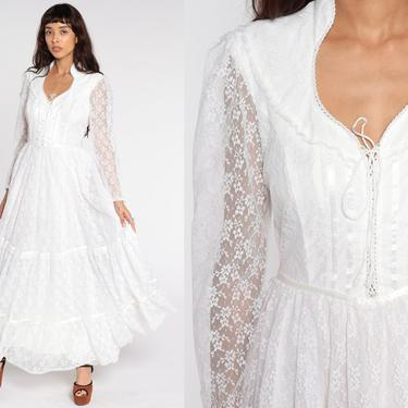 Gunne Sax Dress 70s White Lace Dress Maxi Prairie Dress Lace Up Corset Bohemian Wedding Dress Lace Ruffle Bib 1970s Boho Hippie Small S 13 by ShopExile