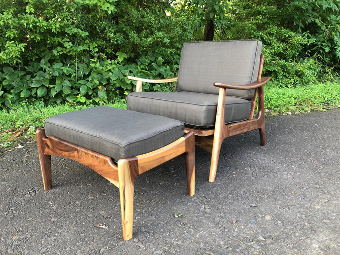 Mid Century Modern Style Lounge Chair with Ottoman / Accent Chair / Upholstered Chair / Danish Modern Chair by donyacovella