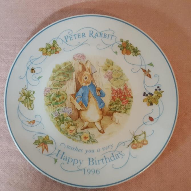 Vintage Beatrix Potter Nursery Ware 1996 Peter Rabbit Birthday Plate By Wedgwood by OverTheYearsFinds