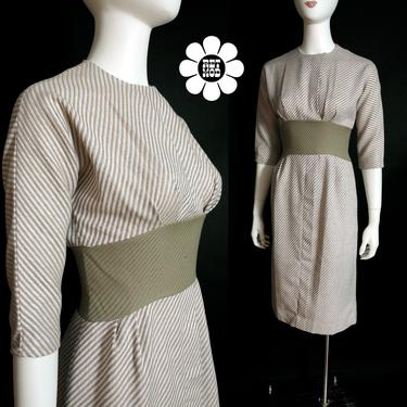 NWOT Lovely Vintage 60s Tan Pinstripe Hourglass Dress by RETMOD